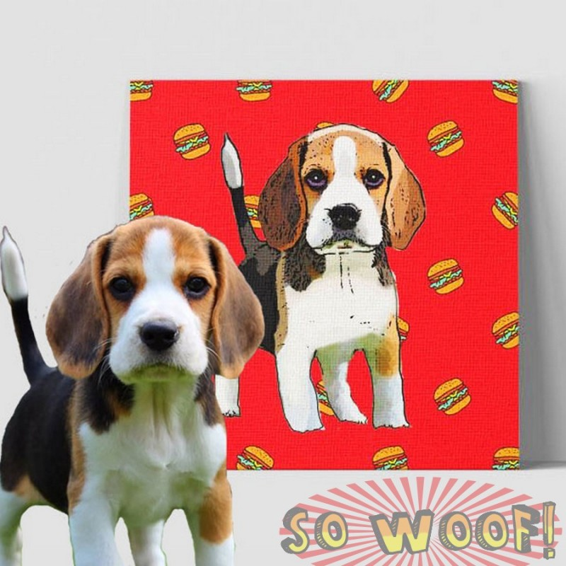 Medium customized warpped canvas with dogs cats pets cartoon portrait wall pop art cartoon background