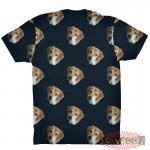 Pets Dogs Cats Faces Pattern Portrait Customized Crew Neck Short Sleeves Mens T Shirt
