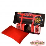 Red Japanese Style Traditional Temple House Beds Crate With Cushion