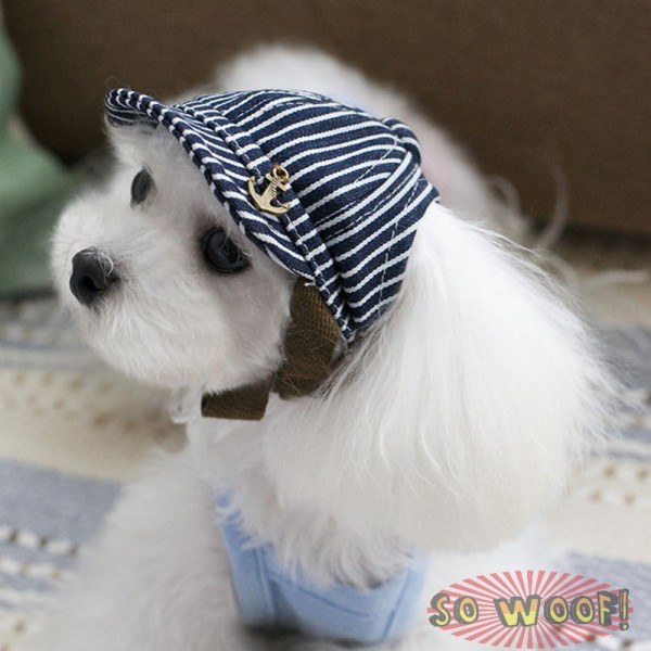 Pets Dogs Cats Hip Hop Blue Stripes Anchor Baseball Cap Hat