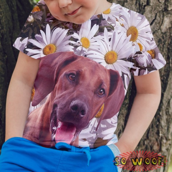 Pets Dogs Cats Chamomile Portrait Customized Crew Neck Short Sleeves Kids T Shirt