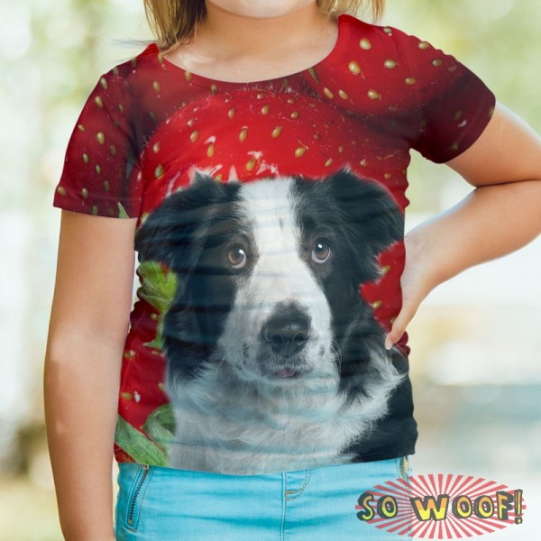 Pets Dogs Cats Strawberries Portrait Customized Crew Neck Short Sleeves Kids T Shirt