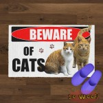 Beware of Cats Personalized Doormat Carpet with Photos Portrait