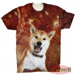 Pets Dogs Cats Red Galaxy Universe Portrait Customized Crew Neck Short Sleeves Mens T Shirt