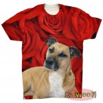 Pets Dogs Red Roses Portrait Customized Crew Neck Short Sleeves Mens T Shirt