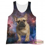 Pets Dogs Cats Blue Galaxy Universe Portrait Customized Crew Neck Sleeveless Tank Top Shirt