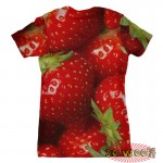 Pets Dogs Cats Strawberries Portrait Customized Crew Neck Short Sleeves Womens T Shirt