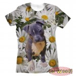Pets Dogs Cats Chamomile Portrait Customized Crew Neck Short Sleeves Womens T Shirt