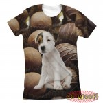 Pets Dogs Cats Chocolates Potrait Customized Crew Neck Short Sleeves Womens T Shirt