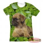 Pets Dogs Cats Green Leaves Portrait Customized Crew Neck Short Sleeves Womens T Shirt