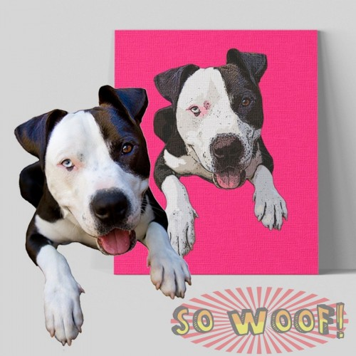 Medium Customized Warpped Canvas with Dogs Cats Pets Cartoon Portrait Wall Pop Art ( Plain Background)