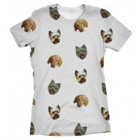 Patterned Protrait T Shirt - 3 Dogs
