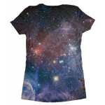 Pets Dogs Cats Galaxy Universe Portrait Customized Crew Neck Short Sleeves Womens T Shirt