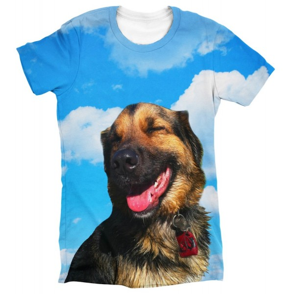 Pets Dogs Cats Blue Sky Portrait Customized Crew Neck Short Sleeves Womens T Shirt