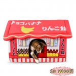 Red Japanese Style Candy Shop House Beds Crate With Cushion