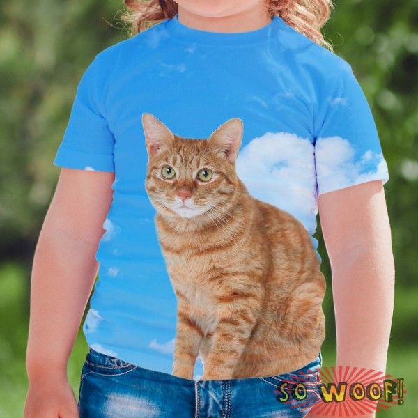 Pets Dogs Cats Blue Sky Portrait Customized Crew Neck Short Sleeves Kids T Shirt