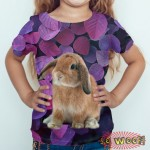 Pets Dogs Cats Purple Leaves Portrait Customized Crew Neck Short Sleeves Kids T Shirt