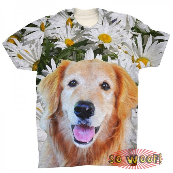 Pets Dogs Cats Chamomile Portrait Customized Crew Neck Short Sleeves Mens T Shirt
