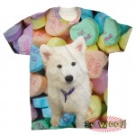 Pets Dogs Cats Heart Candies Portrait Customized Crew Neck Short Sleeves Mens T Shirt