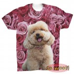 Pets Dogs Cats Pink Roses Portrait Customized Crew Neck Short Sleeves Mens T Shirt