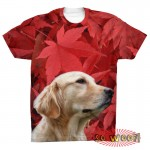 Pets Dogs Cats Red Maple Leaves Portrait Customized Crew Neck Short Sleeves Mens T Shirt