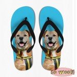 Customized Dog Cat Pet Personalized Portrait Flip Flops Sandals for Mens