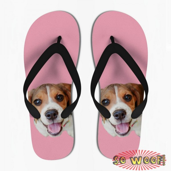 Customized Dog Cat Pet Personalized Portrait Flip Flops Sandals for Womens