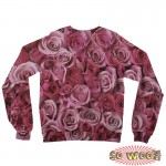 Pets Dogs Cats Pink Roses Portrait Customized Long Sleeves Unisex Fleece Sweatshirt