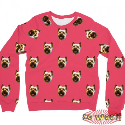 Pets Dogs Cats Faces Pattern Portrait Customized Long Sleeves Unisex Fleece Sweatshirt