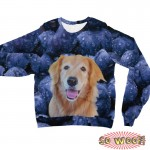 Pets Dogs Cats Blueberries Portrait Customized Long Sleeves Unisex Fleece Sweatshirt