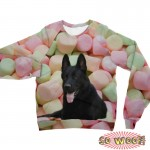Pets Dogs Cats Colorful Marshmallow Portrait Customized Long Sleeves Unisex Fleece Sweatshirt