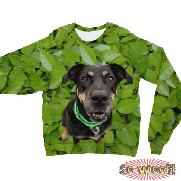 Pets Dogs Cats Green Leaves Portrait Customized Long Sleeves Unisex Fleece Sweatshirt