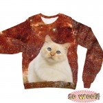 Pets Dogs Cats Red Galaxy Universe Portrait Customized Long Sleeves Unisex Fleece Sweatshirt