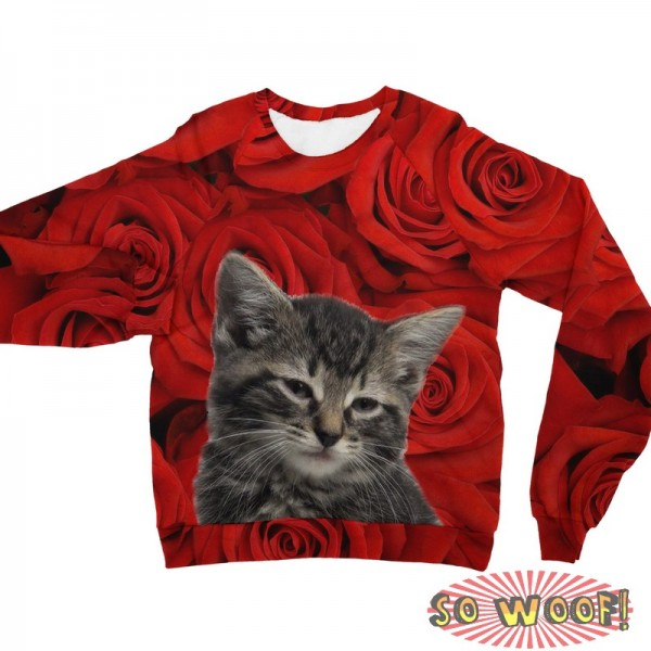 Pets Dogs Cats Red Roses Portrait Customized Long Sleeves Unisex Fleece Sweatshirt