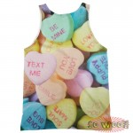 Pets Dogs Cats Heart Candies Portrait Customized Crew Neck Sleeveless Tank Top Shirt
