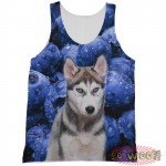 Pets Dogs Cats Blueberries Portrait Customized Crew Neck Sleeveless Tank Top Shirt