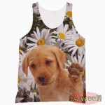 Pets Dogs Cats Chamomile Flowers Portrait Customized Crew Neck Sleeveless Tank Top Shirt