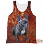 Pets Dogs Cats Red Galaxy Universe Portrait Customized Crew Neck Sleeveless Tank Top Shirt