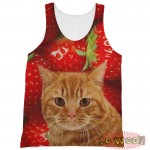Pets Dogs Cats Strawberries Portrait Customized Crew Neck Sleeveless Tank Top Shirt