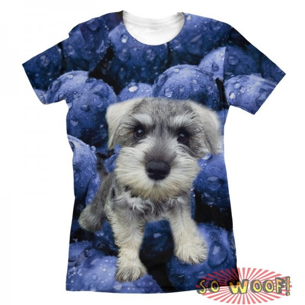 Pets Dogs Cats Blueberries Portrait Customized Crew Neck Short Sleeves Womens T Shirt