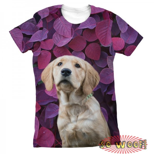 Pets Dogs Cats Purple Leaves Portrait Customized Crew Neck Short Sleeves Womens T Shirt