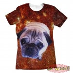 Pets Dogs Cats Red Galaxy Universe Portrait Customized Crew Neck Short Sleeves Womens T Shirt